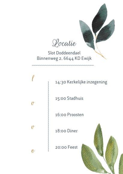 Chique botanische trouwkaart met aquarel bladgroen 3