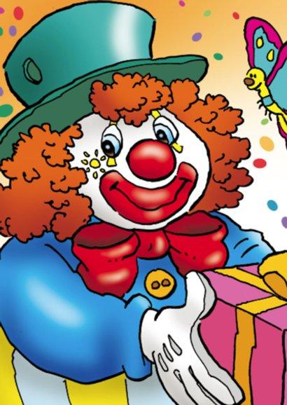 clowns verjaardag 4 clown met spandoek 2