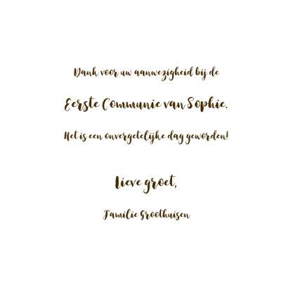 Communie bedankkaart fotocollage goud 3
