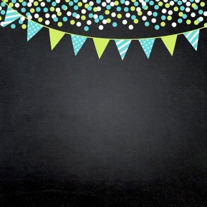 Communiekaart foto confetti slinger krijtbord jongen 2