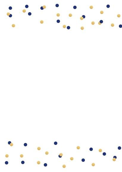 Communiekaart fotostrip confetti donkerblauw 2