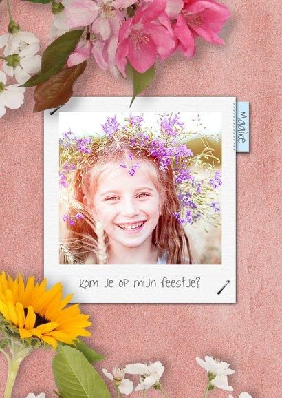 Communiekaart krijtbord en bloemen 2