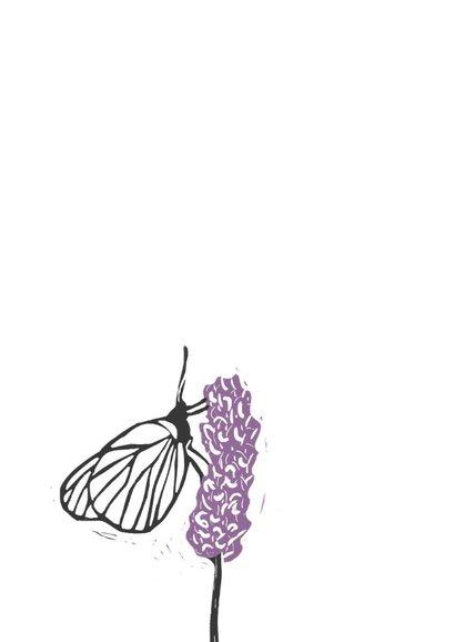Condoleancekaart vlinder op bloem 2