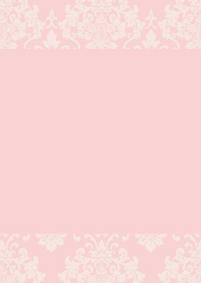 Doopkaart meisje roze barok 2
