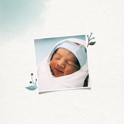 Doopkaartje jongen met takjes, foto en waterverf 2