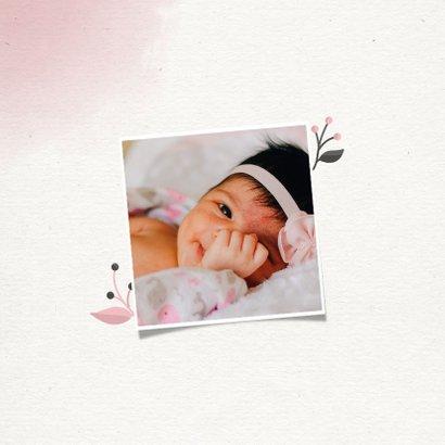 Doopkaartje meisje met takjes, waterverf en foto 2