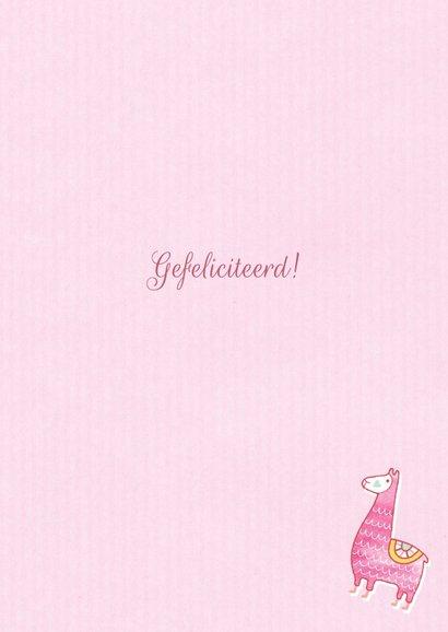 Felicitatie dochter handgetekend alpaca roze  3