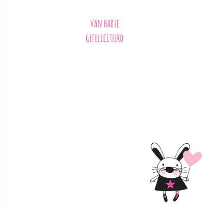 Felicitatie dochter handgetekend konijn roze & Kraft - MW 3