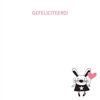 Felicitatie dochter handgetekend konijn roze  - MW 3