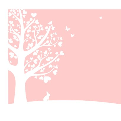 Felicitatie - Hartjesboom meisje silhouet 2