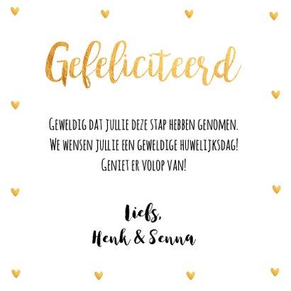 Felicitatie huwelijk foto hartjes goud 3