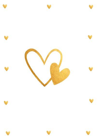 Felicitatie huwelijk gouden hartjes 2