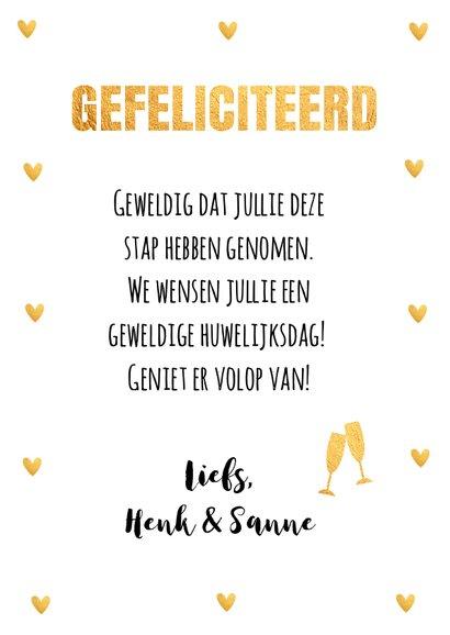 Felicitatie huwelijk gouden hartjes 3