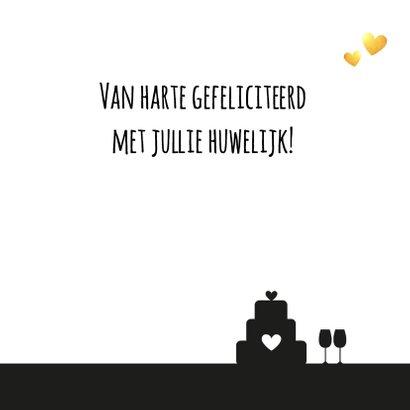 Felicitatie - Huwelijk silhouet hart met goud 3