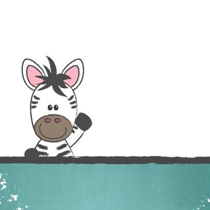 Felicitatie kaartje met een illustratie van een lieve zebra 2