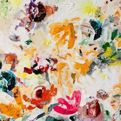 Felicitatie met bloemen schilderkunst 2