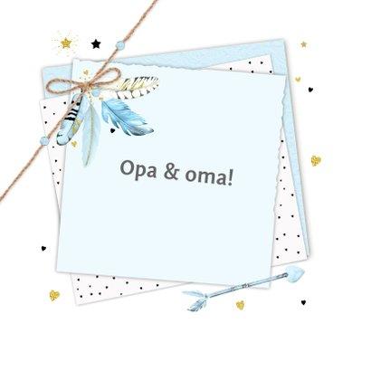 Felicitatie opa en oma papiertjes veertjes 2