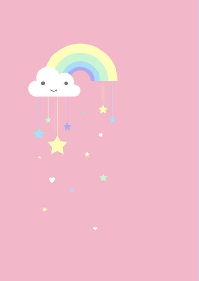 Felicitatie - Pastel regenboog sterren meisje 2