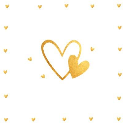 Felicitatie trouwdag typografie gouden hartjes 2