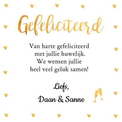 Felicitatie trouwdag typografie gouden hartjes 3