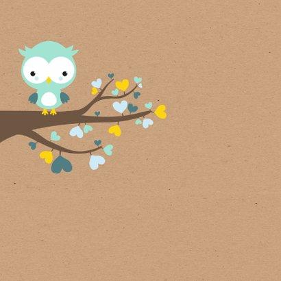 Felicitatie - Uiltje in hartjesboom jongen 2
