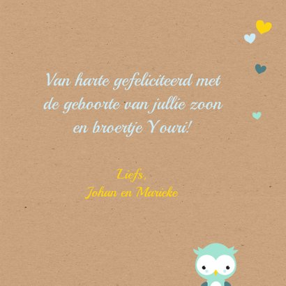 Felicitatie - Uiltje in hartjesboom jongen 3