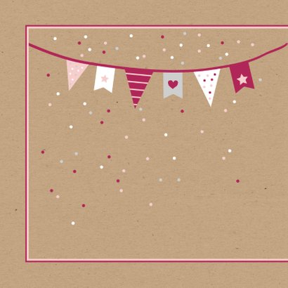 Felicitatie - Vlaggetjes en confetti meisje 2