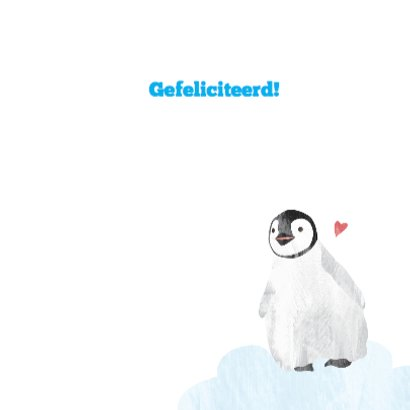 Felicitatiekaart geboorte jongen - pinguin 3