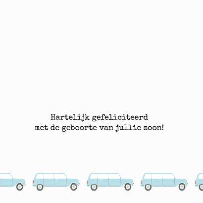 Felicitatiekaart geboorte met blauwe auto's 3