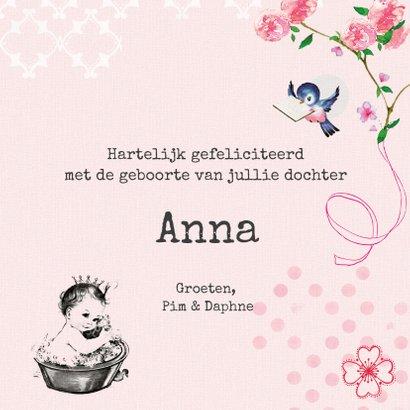 Felicitatiekaart geboorte met vintage baby in badje met naam 3