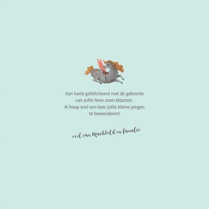 Felicitatiekaart geboorte unicorn jongen 3