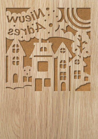 Felicitatiekaart gestanste huisjes op houtprint 2