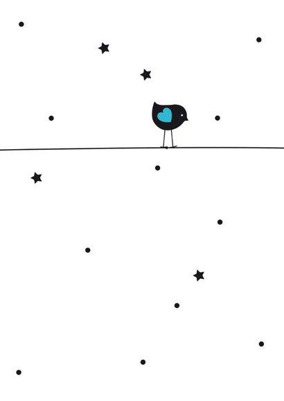 Felicitatiekaart vogeltje silhouet op blauwe ballon 2