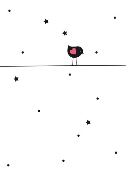 Felicitatiekaart vogeltje silhouet op roze ballon 2