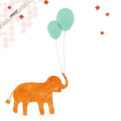 Felicitatiekaartje geboorte olifant met ballonnen oranje 2