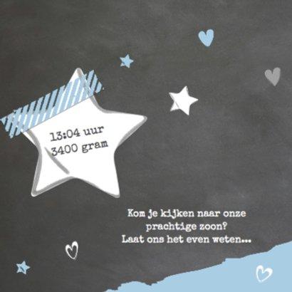 Foto geboortekaartje krijtbord - blauw 2