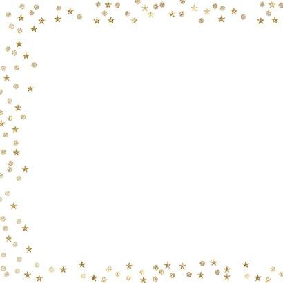 Foto kerstkaart sneeuw confetti en gouden sterretjes 2