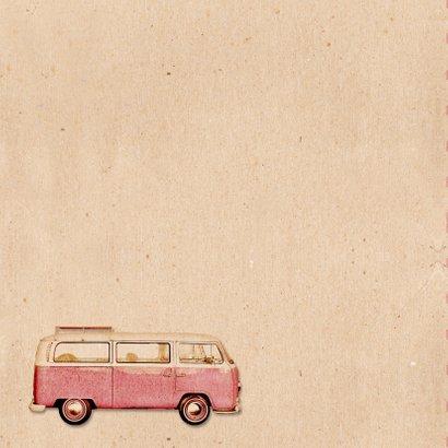 Geboorte busje roze retro patroon - BK 2