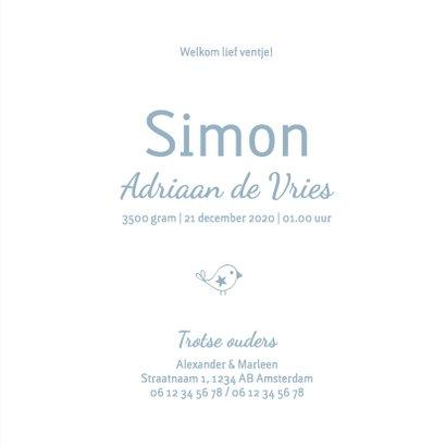Geboorte  jongen blauw silhouet Simon - MW 3