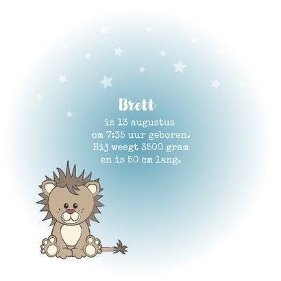 Geboorte kaart jongen lief leeuw sterren 2