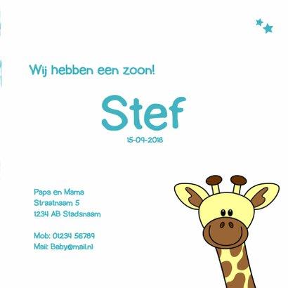 Geboorte kaartje met lief girafje voor een jongen 3