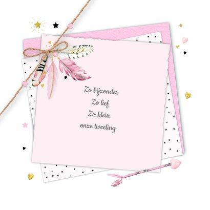 Geboorte tweeling label veertjes 2