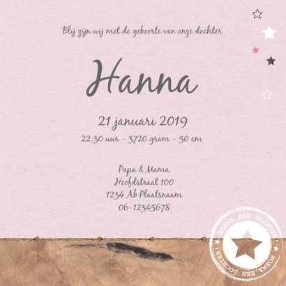 Geboorte - Wolkje, ster, roze 3