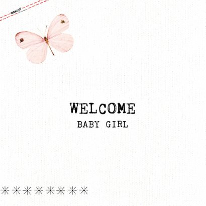 Geboortefelicitatiekaart Welcome Baby Girl met vlinders 2