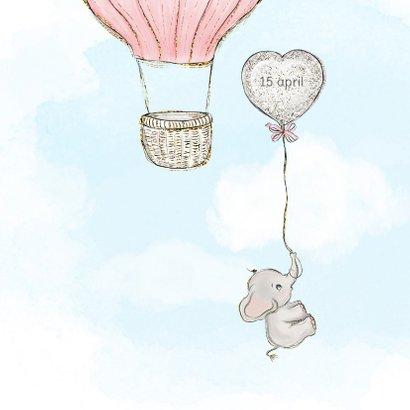 Geboortekaart adoptie meisje - luchtballon 2