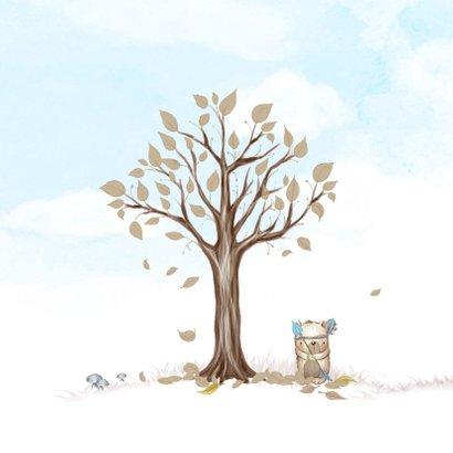 Geboortekaart boom, beertje met veer voor jongen 2