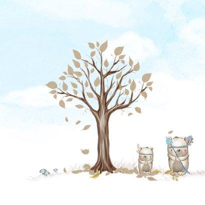Geboortekaart boom, beren met veren, voor broertje of zusje 2