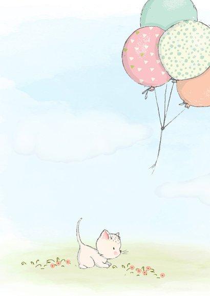 Geboortekaart meisje, kitten en ballonnen 2