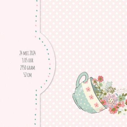 Geboortekaart meisje - theekop, konijn en bloemen 2