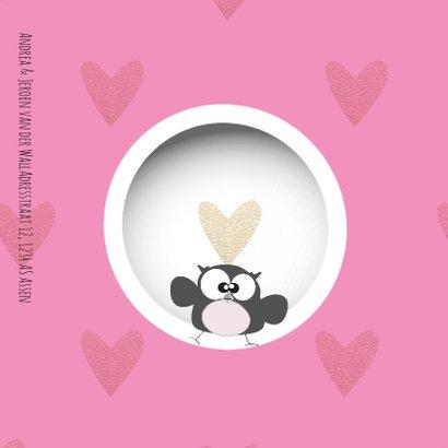Lieve geboortekaart met foto cirkels en hartjes roze 2